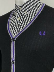 Fred Perry   Tipped Button Through Merino Wool Cardigan L 42 (Black) Mod Scooter