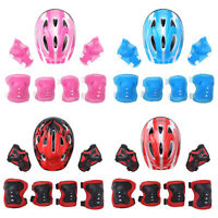 """7Pcs Elbow Wrist Knee Pad Sets Kids Safety Helmet For Roller Skating Cycling 21"""""""