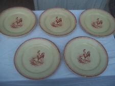 5 assiettes plates porcelaine opaque de gien décor de coq anciennes.