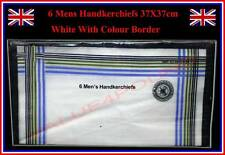 6 pieces MENS HANDKERCHIEFS WHITE with COLOUR BORDER 37X37cm POLYESTER + COTTON