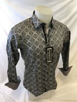 Mens FERRETI By BARABAS Designer Dress Shirt Woven GRAY GEOMETRIC SLIM FIT 4312
