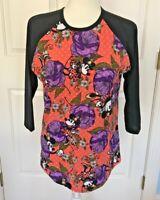LulaRoe Disney Minnie Mouse Randy Tee Jersey Shirt/Top Size SMALL Orange Purple