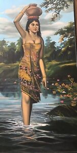 Large Signed Vintage Retro Portrait Oil Painting Of Lady - Tretchikoff Style