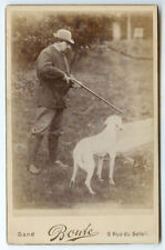 RARE OUTDOOR SPORTSMAN HUNTING: Hunter, Rifle and Hunting Dog Cabinet Card