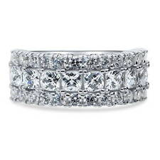 BERRICLE Sterling Silver Half Eternity Band Ring Made with Swarovski Zirconia