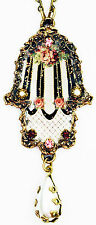 Michal Negrin Victorian Antique Style Roses Crystals Hamsa Hand Pendant Necklace