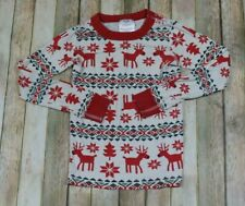 Hanna Anderson Pajama TOP ONLY Fair Isle Nordic Holiday Christmas 120 6-7 Red