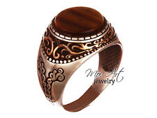 Exclusive ! Handmade Men's Ring with TigerEye 925k Sterling Silver All Size