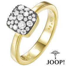 JOOP Damenring aus 925 Silber mit Gelbgold Vergoldung und Zirkonia JPRG90798E180