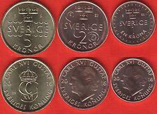 "Sweden set of 3 coins: 1 - 5 kronor 2016 ""Carl XVI Gustaf"" UNC"
