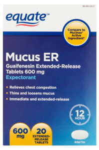 EQUATE MUCUS ER EXTENDED-RELEASE TABLETS, 600 MG, 20 COUNT