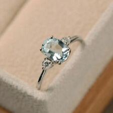 2.50Ct Oval Cut Aquamarine & Diamond 14K White Gold Engagement &  Wedding Ring