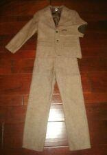 Janie and Jack Sz 8 Brown Herringbone Wool 2pc Suit Jacket/Pants Holiday Church