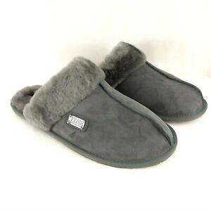 Australia Luxe Womens Mule Slippers Lambskin Suede Wool Lined Gray L 12-13