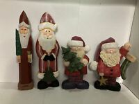 Lot of 4 Wooden Santa Claus Figurines Christmas Tree Decorative Holiday Noel