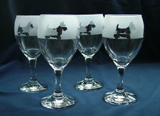 More details for scottish terrier dog wine glasses set of four