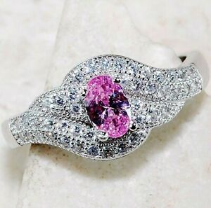 Top Quality 1CT Pink Sapphire & Topaz 925 Sterling Silver Ring Jewelry Sz 7, M2