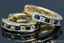 Diamond Natural Sapphire Yellow Gold Fine Earrings