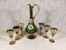 Decorative Italian Wine Decanter Pitcher Set  w/6 Stem Glasses Floral Design