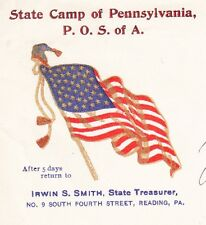 Patriotic Order Sons of America State Camp Flag Reading 1903 PA Cover 6x