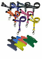 Printed Staff ID Neck Lanyards Metal Clip & Double ID Card Badge Holder Free P&P