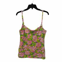 Barbara Gerwit Vintage Womens Cami Top Pink Floral Spaghetti Strap Stretch S