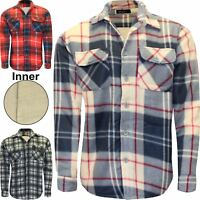 Mens Sherpa Fleece Lined Fleece Thick Shirt Lumberjack Work Jacket Check Warm