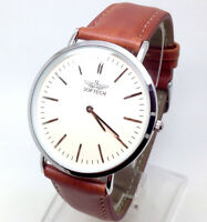 X205T Men Classic Wrist Watch Brown Leather Band Slim White Analog Dial Quartz
