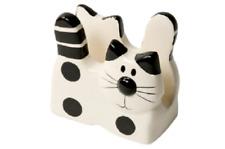 Cat Napkin Holder Dispenser Letter Rack Novelty Cat Shaped Cermaic Cream Black