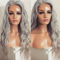 "New 24"" Glueless Light Grey Lace Front Synthetic Hair  Wig Long Curly Wavy Party"