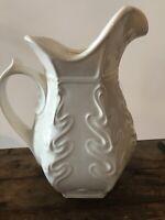 "McCoy Pottery 12.5"" White Heavy Vase Leaf Design Mark Mid Century 1970's"