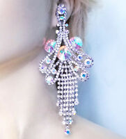 Huge Drag Queen AB Rhinestone Chandelier Earrings Bridal Prom Pageant 6 Inch