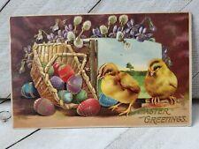 VTG Postcard Easter 1909 one cent religious Easter eggs chicks (B34)