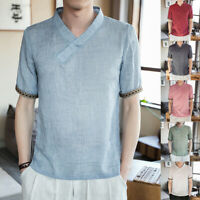Summer Men's Linen Cotton V Neck Short Sleeve T-shirt Casual Loose Top Blouse UK