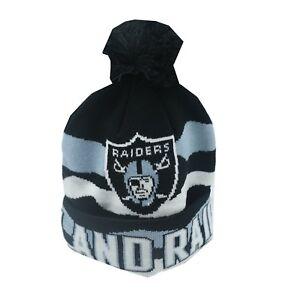 Oakland Raiders NFL Youth Boys (8-20) OSFM Winter Cuffed Pom Knit Beanie New