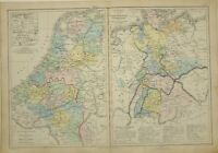 1875 Hand- Farbig Landkarte Belgien Holland Waterloo ~ Deutsches Hanover