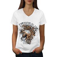 Wellcoda Freak Funk Rock Skull Womens V-Neck T-shirt, Scream Graphic Design Tee