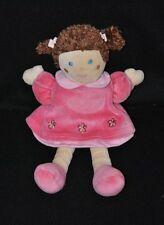 Peluche doudou poupée beige NOUNOURS robe fushia jupon rose fleurs 25 cm TTBE