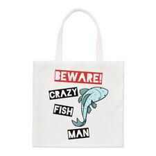 Ten cuidado con los peces Loco Hombre Small Tote Bag-hombro animales graciosos