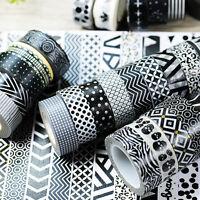 1 pc BLACK & WHITE Paper Washi Tape Masking Tape Adhesive Roll Decorative Tape