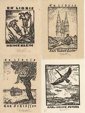 Rudolf KOCH Germany 1902-1985 Lot 4 exlibris Crane Gentiana 1942 Litho Woodcuts