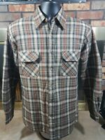Vintage Back Packer Insulated Plaid Flannel Button Up Work Shirt Mens Size Small