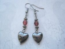 HEMATITE HEART Cranberry Red Czech Glass Stacked Bead Earrings HEALING Love