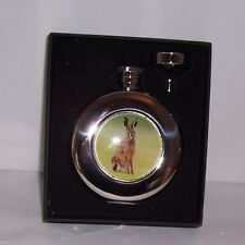 Round Hip Flask 4.5oz Hare design with funnel in Presentation Box