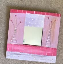 Mirror In Pink Hand Painted Wooden Frame With Tulip Hearts By Maxine Pharaoh