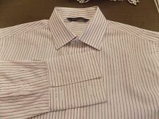 SEANJOHN BEAUTIFUL SHIRT WHITE WITH STRIPES FRENCH CUFFS SIZE 15.5/34-35
