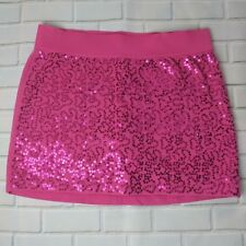 Justice Girls skirt size 16 pink sequin stretchy plus elastic waist mini