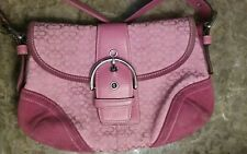 COACH Signature Pink Saddle, Jacquard, Pink Leather and suede, Buckled front