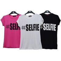 GIRLS KIDS #SELFIE/ SLOGAN PRINT T SHIRT AGES 7-13