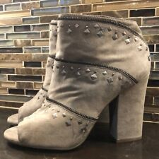Jessica Simpson tan studded suede open toe boots